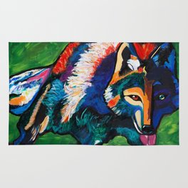 Wolf in Moonlight Rug
