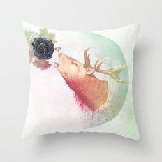 Deer Howling for NATURE!  Throw Pillow