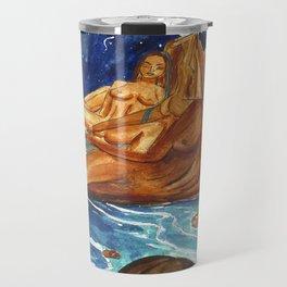 Moon Bathing Babes - Watercolor painting of Earth and Ocean Goddesses Travel Mug