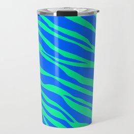 Cobalt Blue And Neon Green  Zebra Stripes Travel Mug
