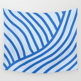 Royal Wave Stripe Blue Wall Tapestry