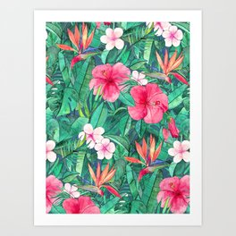 Classic Tropical Garden with Pink Flowers Art Print