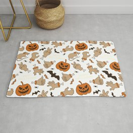 Pumpkin Scary Pattern For Halloween Rug