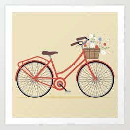 Flower Basket Bicycle Illustration Art Print