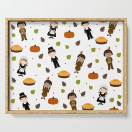 Pilgrims and Indians pattern - Thanksgiving Serving Tray