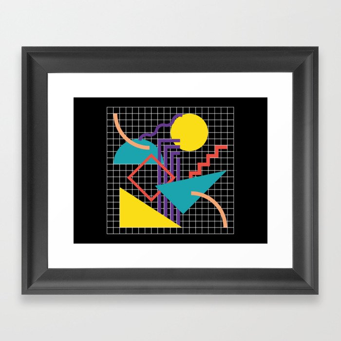 Memphis Pattern - 80s Retro Black Gerahmter Kunstdruck