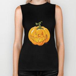 Halloween carved  Pumpkin  Biker Tank
