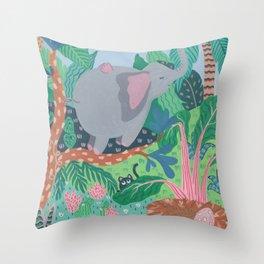 The Elephant is a funny bird Throw Pillow