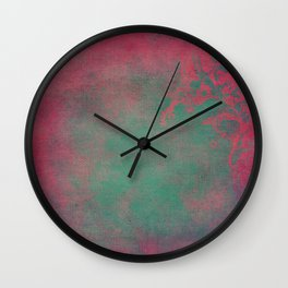 Grunge Garden Canvas Texture:  Pink and Teal Floral Wall Clock