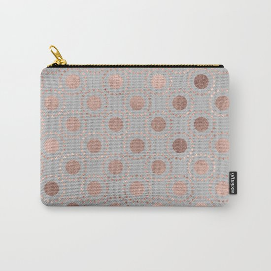 Rosegold pink metalfoil polkadots on grey backround 1 Carry-All Pouch