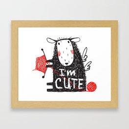 Cute Knitting Crafty Sheep Framed Art Print
