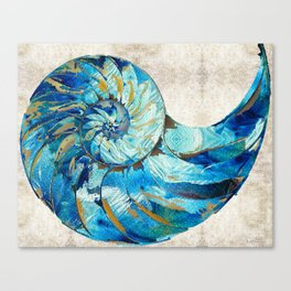 Tropical Blue Beach Art - Nautilus Shell Bleu 2 - Sharon Cummings Canvas Print