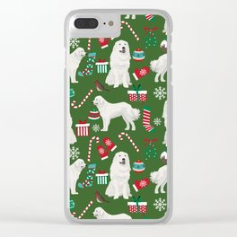 Great Pyrenees christmas festive dog gifts for the dog lover pet friendly pet portraits Clear iPhone Case
