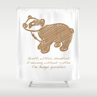badger Shower Curtains featuring Badger by Gothic Panda