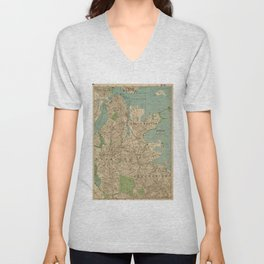 Vintage Map of Boston MA (1900) Unisex V-Neck