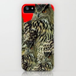 FAMILY OF OWLS IN TREE RED ART DESIGN ART iPhone Case