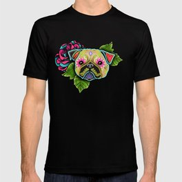 Pug in Fawn - Day of the Dead Sugar Skull Dog T-shirt
