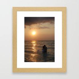 Lovers Kiss at Sunrise Framed Art Print