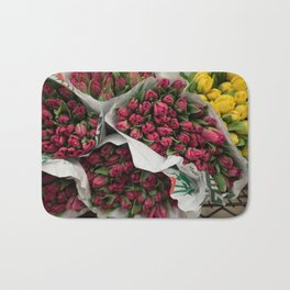 pink and yellow flowers Bath Mat