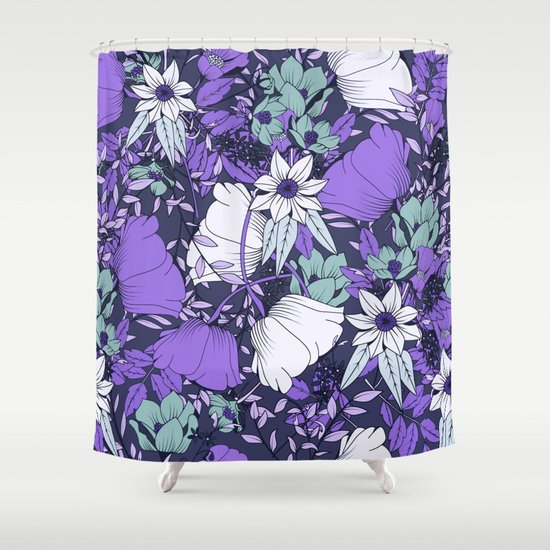 purple and icy blue floral pattern shower curtain by the ophelia society6. Black Bedroom Furniture Sets. Home Design Ideas