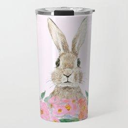 rabbit and pink camellia flower Travel Mug