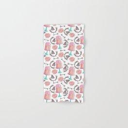 Rose pink coral flowers butterfly bohemian deer antlers Hand & Bath Towel