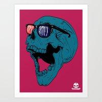 rock n roll Art Prints featuring Rock N' Roll Skull by Diseños Fofo