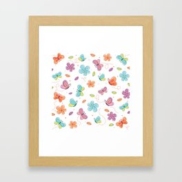 Colorful Butterflies And Flowers Pattern Framed Art Print
