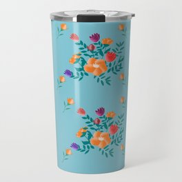 Classic floral with blue background Travel Mug