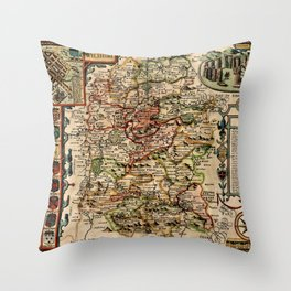 1610 John Speed Wilshire Old World Map of Salisbury and Stonehenge, England Throw Pillow