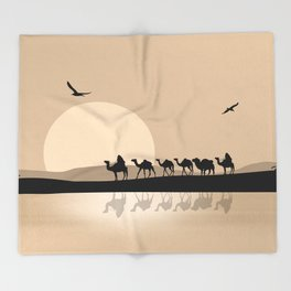 Camel Caravan going through the Desert Throw Blanket