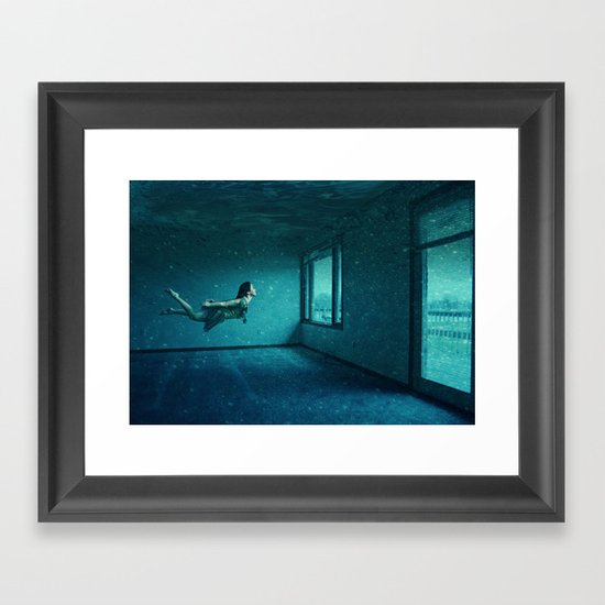 swimming girl Framed Art Print