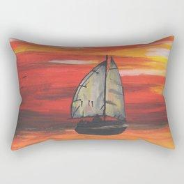Sailboat at Sea During Sunrise Rectangular Pillow