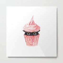 Pink cupcake -black cat Metal Print
