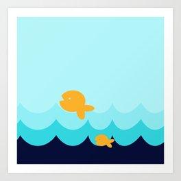 Beach Series Aqua- Gold Fish Animals in the deep See Art Print