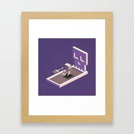 Familiar Face — isometric pixel artwork Framed Art Print