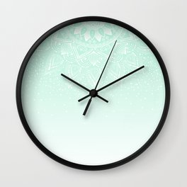 Elegant white and mint mandala confetti design Wall Clock