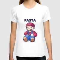 pasta T-shirts featuring Pasta Mario by Joel Hinojosa