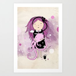 Octavia and Octopus Art Print