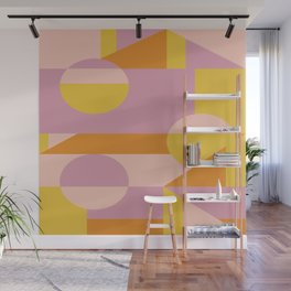 Geometric Shapes Pattern in Lavender, Yellow, Pink, and Orange Wall Mural