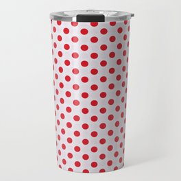 Red polka dots on White Travel Mug
