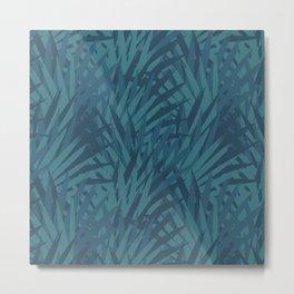 Blue Tropical Jungle Background Design Metal Print