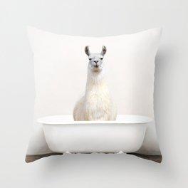 llama in a Vintage Bathtub (c) Throw Pillow