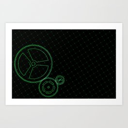 Set of green gears and cogs on virtual screen Art Print