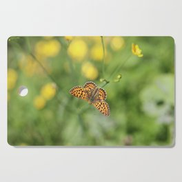Small pearl-bordered fritillary and buttercups Cutting Board