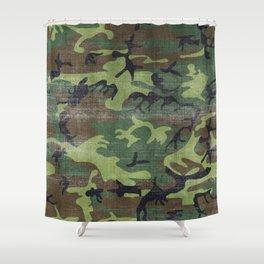Aged Camo Look Shower Curtain