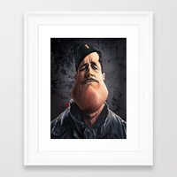 "brad pitt Framed Art Prints featuring Brad ""Aldo Raine"" Pitt by Khasis Lieb"