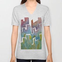 Watercolor Skyline  Unisex V-Neck