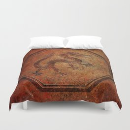 Distressed Chinese Dragon In Octagon Frame Duvet Cover