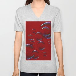IRIDESCENT SOAP BUBBLES  ON  DARK RED COLOR Unisex V-Neck